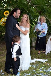 farm wedding with bride groom and Celebrant Deb