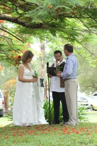 garden wedding with rose ceremony