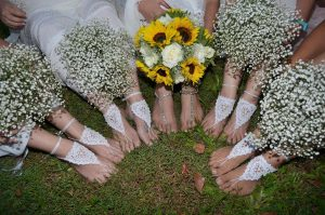Hannah & Gino's wedding bridesmaids footwear w' bouquets cropped