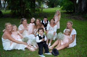 Hannah, bridesmaids, flowergirls, Dylan & Finn