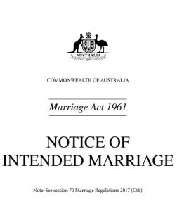 Notice of Intended Marriage - Commonwealth of Australia Form Screenshot