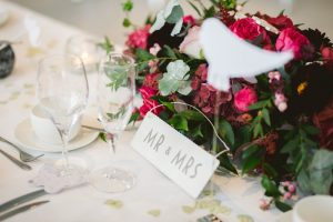 hints and tips planning the wedding reception image of Mr and Mrs card and table setting