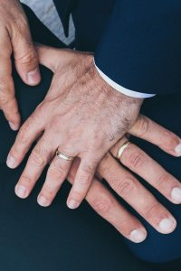 same-sex marriage legalised in Australia image of two men wearing rings