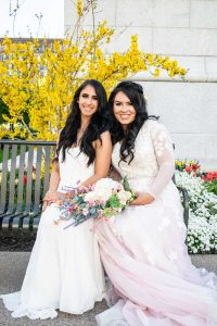 same-sex marriage legalised in Australia image of two women in their wedding gowns