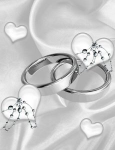 wedding ring warming ceremony image of 2 wedding rings with floating hearts